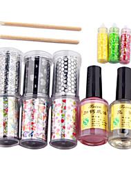 13PCS Nail Art Laser Foil estrelado Set (6 Designs Aleatório Florete, cálcio Cola Base, Top Coat, 3 aleatório Decoração, 2 vara)