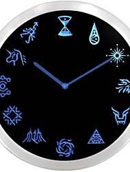 nc0953 Exo Symboles Néon LED Horloge murale