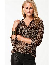 neun Frauen Leopardenmuster Chiffon Langarm-Bluse