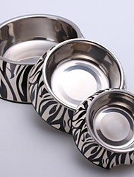Small Zebra Applique Melamine Round Bowl with Stainless Steel Dish  for Pet Dogs and Cats