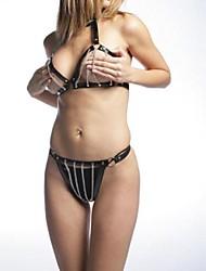 Sexy Girl PVC nero domestica Lingerie Set (2 Pezzi)