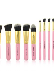 10 Pcs Pink Professional Cosmetic Makeup Brushes Set