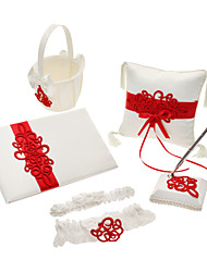 5 Collection Set White Guest Book / Pen Set / Ring Pillow / Flower Basket