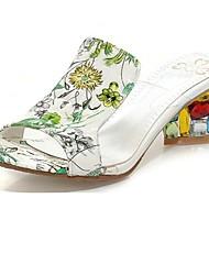 Leder Damen Blockabsatz Slide Hausschuhe mit Kristallabsatz-Schuhe (weitere Farben)