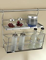 Cucina in acciaio inossidabile Mensola doppia Aromi Rack pendenza laterale con 24Inch Hanging Rod e 5 ganci