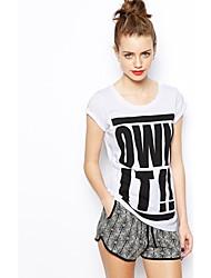 HAODUOYI ™ Compre Imprimir Rodada T-shirt de algodão Collar