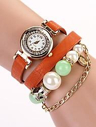 C & D 2014 novas mulheres se vestem de pérolas de luxo relógios pulseira de couro longa cadeia de strass XK-8