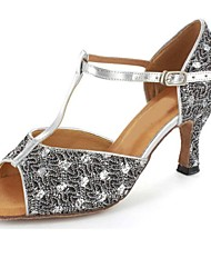 Customizable Women's Dance Shoes Latin/Salsa/Performance Sparkling Glitter Customized Heel Silver
