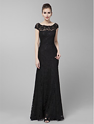 Homecoming Formal Evening/Prom/Military Ball Dress - Black Sheath/Column Jewel Sweep/Brush Train Lace