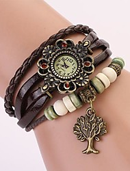 C&D Genuine Leather Vintage Watch, Tree of Life Pendant Bracelet Wristwatches XK-112