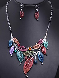 Women's Gemstone Leaf (Necklace&Earring) Jewelry Set