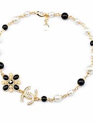 Fashion Plastic Pearl Bib Strands Necklace