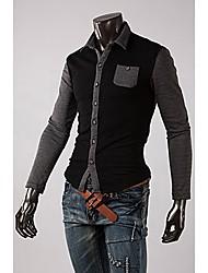 REVERIE UOMO Mann Kontrast Farbe Langarm-Shirt-Kragen Polo Shirts
