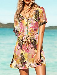 Women's Print Multi-color Dress , Beach Deep V Short Sleeve