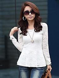 Korean Fashion Top camicetta elegante Shirt merletto del ricamo in bianco e nero
