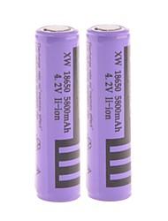 """Poder 4.2V recargable Li-ion 18650 batería """"5800mAh"""" con la Junta de Protección (2PCS)"""