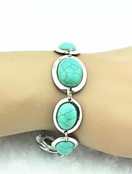 Vintage 18cm de las mujeres de plata antiguo de la turquesa pulsera (verde) (1 PC)