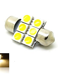 31mm 1W 6x5050 SMD LED 80lm Warm White 3000K Lights Festoon Dome License Plate Door Lamp Bulb for Car (DC 12V)
