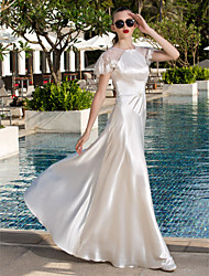 Lan Ting A-line Plus Sizes Wedding Dress - Ivory Floor-length Scoop Lace/Stretch Satin