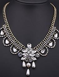 Women's  Crystal Gem Multi-pearl Pendant Necklace