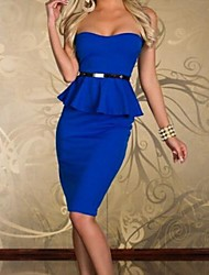 Women's Solid Blue/Pink/Red/White/Black Dress , Sexy/Bodycon/Party Strapless Sleeveless Ruffle
