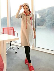Gray Long Cartoon Hooded Maternity Hoodies Brief Pregnant Women Clothes Fall