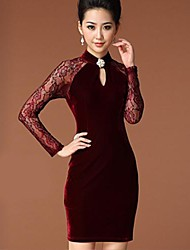 YIMAN Women's Band Collar Lace Bodycon Cheongsam Dress