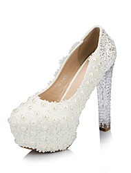 Women's Shoes Round Toe Chunky Heel Pumps with Crystal Heel Wedding Shoes
