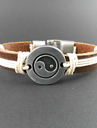 Мода Восемь-схема-образный закуску 20см Мужская многоцветный кожаный браслет обруча (1 шт)
