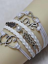 Amor Vintage 18 centímetros da Mulher Branca Liga / pulseira de couro Wrap (Branco) (1 Pc)