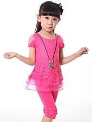 Girl's Jacquard Clothing Set,Cotton Blend Summer Blue / Pink / Yellow