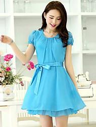 Seasoncity ® Damenmode-Rundhalsausschnitt-Chiffon-Kleider