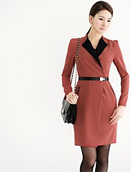 Women's Work Dress Above Knee Cotton / Chiffon