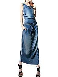 Women's Round Collar Waist Belt Falbala Long Sleeveless Denim Dress