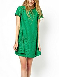 Women's Lace/Solid Black/Green/White Dress,Casual Round Neck  Short Sleeve