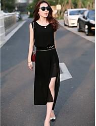Michaela European Sleeveless Chiffon Slim Dress(Black)-1211