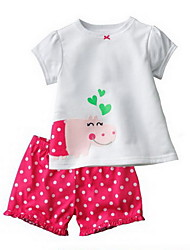 Girl's Cotton Summer Cute Round Collar Short Sleeve Polka Dots Suit(T-Shirt & Shorts)