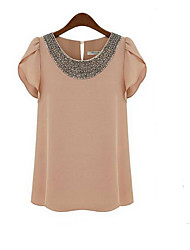 Michaela European Beads Chiffon Shirt(white)-1168
