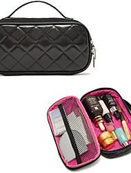 portable diamants haut de gamme noir embrayage pu sac cosmétique sac de rangement de maquillage