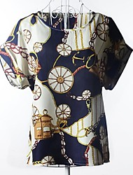 Women's Casual/Daily Simple Summer T-shirt,Print Round Neck Short Sleeve Multi-color Thin / Translucent