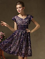 Women's Sexy Dress,Floral Mini Short Sleeve Blue / Purple Summer