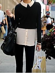 Splice lapela longo da luva das mulheres camiseta