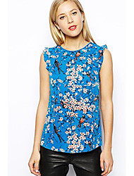SHEILA Women's New Style Sleeveless Round Neck Floral Print Blouse