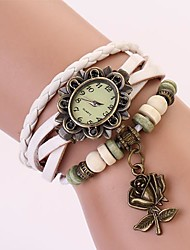 C&D Genuine Leather Vintage Watch, Rose Flower Pendant Bracelet Wristwatches XK-105