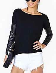 Carmell ™ Women's PU Lederen Stitching breien shirt dieptepunt shirt