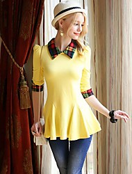 Women's Plaid White/Black/Yellow/Purple Shirt , Peter Pan Collar Long Sleeve Ruffle