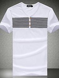 Herren V-Ausschnitt Freizeit Streifen Bedruckte T-Shirts mit kurzen Ärmeln
