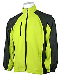 TTYGJ Men's Polyester Long Sleeve Yellowish Green Golf Windproof Coat