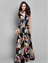 Formal Evening Dress - Print Plus Sizes Sheath/Column V-neck Floor-length Chiffon