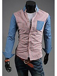 Glory Shirt Collar Long Sleeve Plaid Pattern Splicing Color Shirt